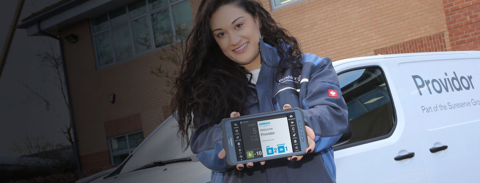 Provider employee using a JobWatch mobile device