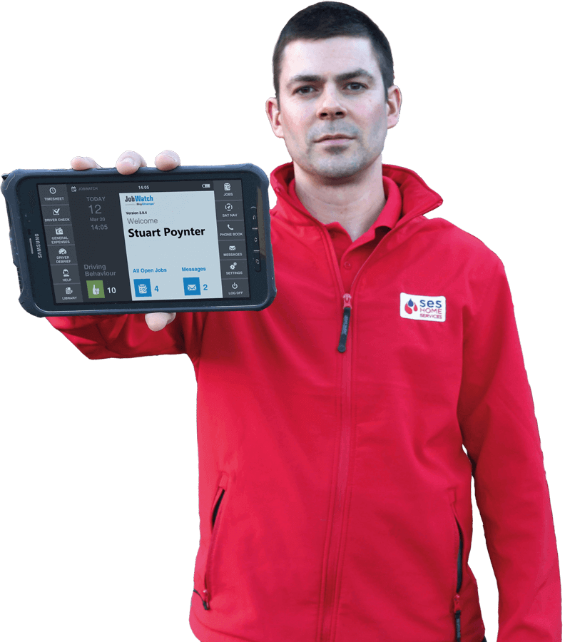 SES Employee holding a BigChange mobile device