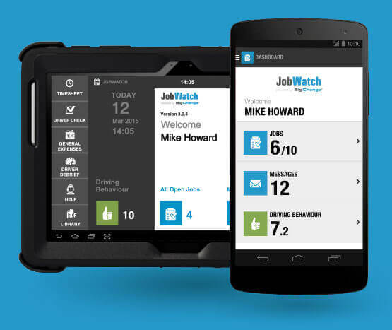 JobWatch Mobile Smart phone app and in-car hardware