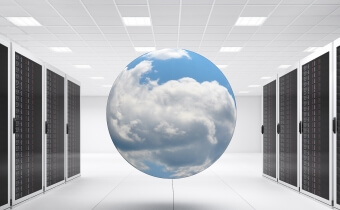 A sphere with clouds in it hovering between two server racks.