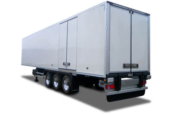 A white trailer on a white background