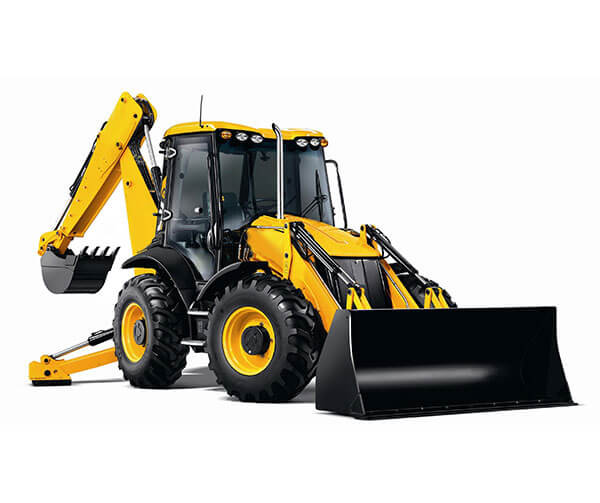 A large yellow digger on a white background