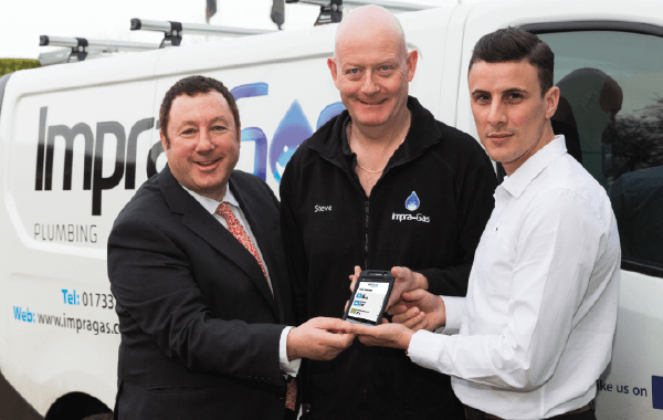 From left to right, Martin Port – Founder and CEO at BigChange, an Impra-Gas technician and BBC Apprentice Winner Joseph Valente, Founder and Managing Director of ImpraGas