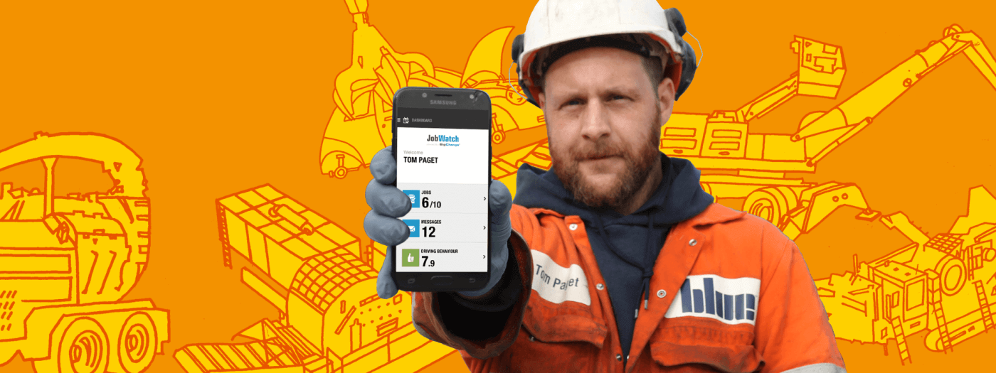 Mobile worker using the JobWatch pltform