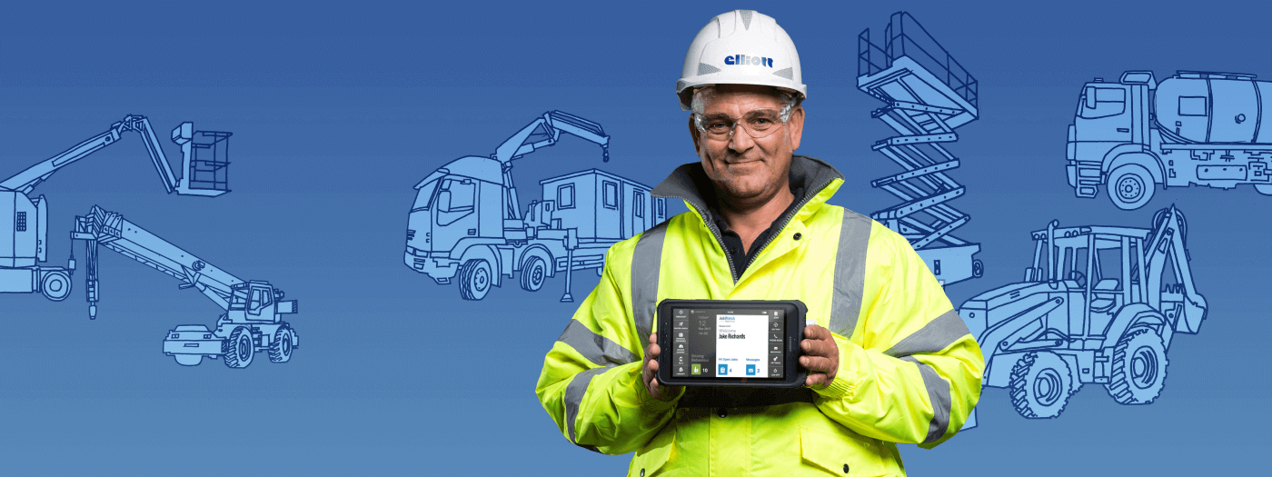 Elliott employee holding a JobWatch mobile device