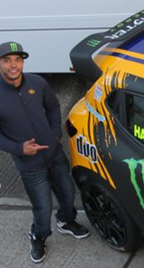 Nicolas Hamilton by car