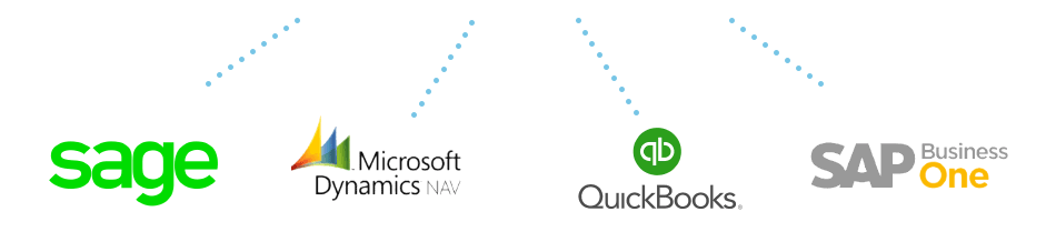 Sage, Microsoft Dynamics, Quickbooks and SAP logos