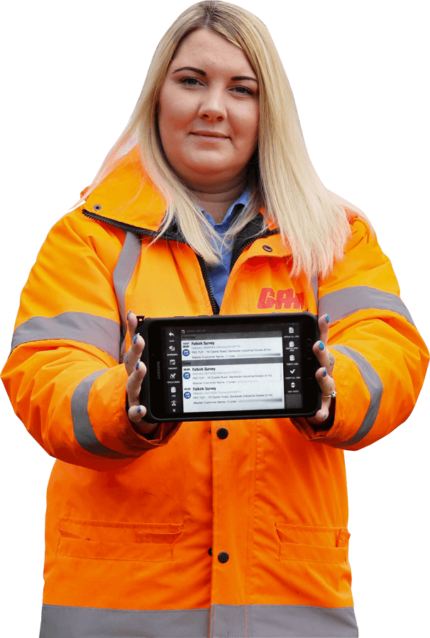 GAP employee holding a JobWatch mobile tablet
