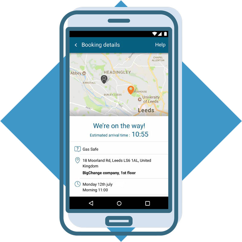 Customer booking portal on smartphone