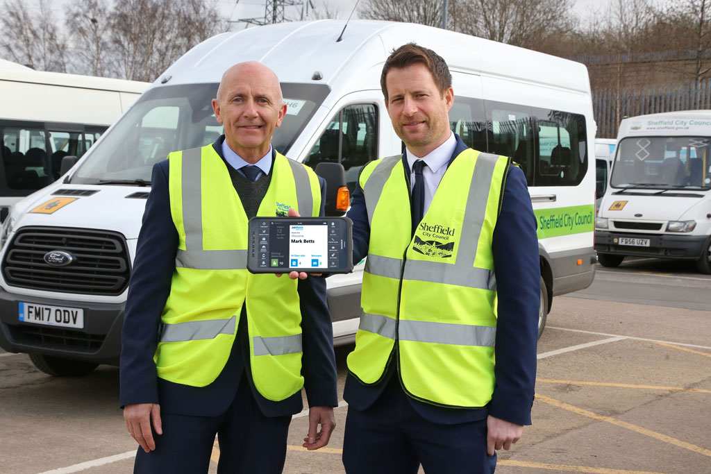 Sheffield City Council employee holding a mobile JobWatch device