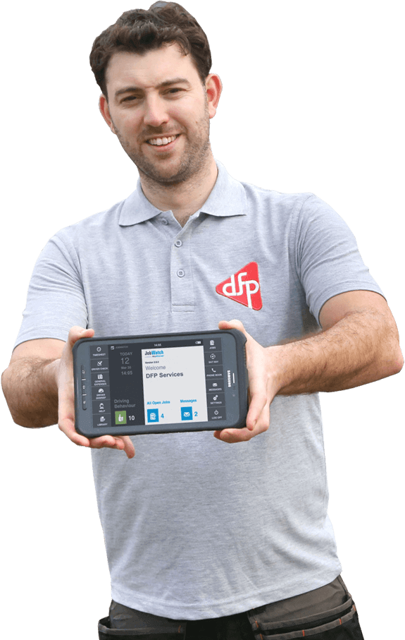 DFP Services employee holding a BigChange mobile device