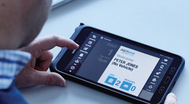 A JobWatch Mobile device in use
