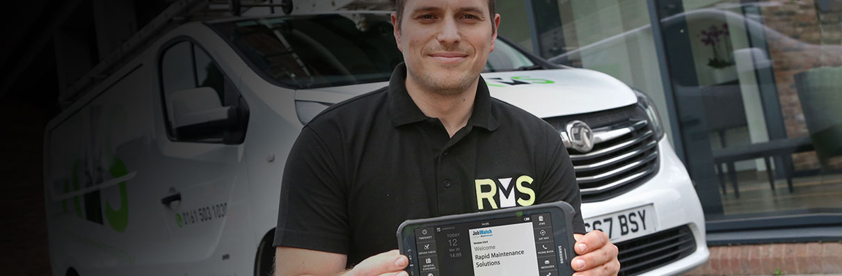 RMS employee using a BigChange mobile device