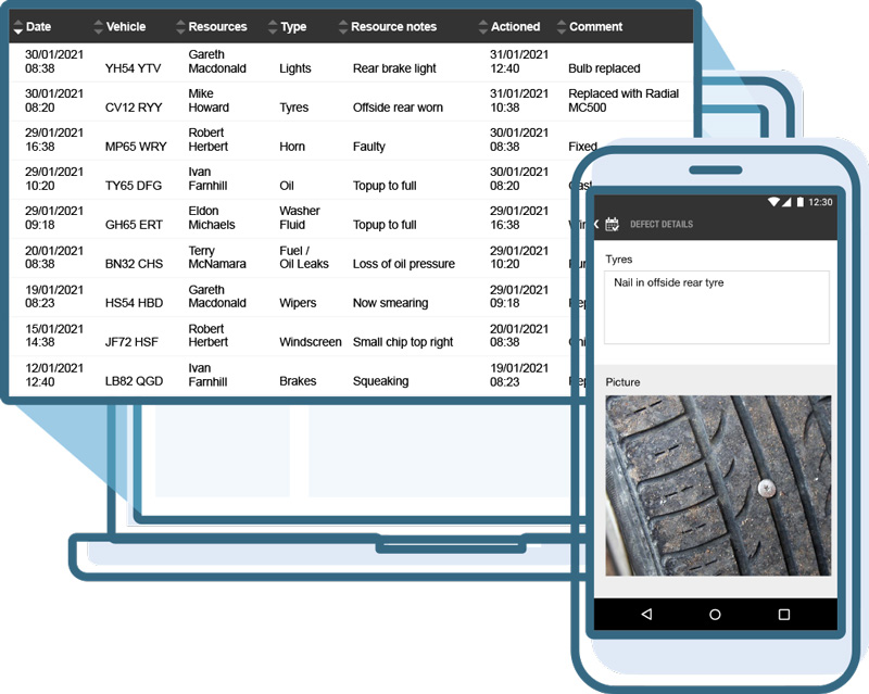 Timesheets on tablet and smartphone