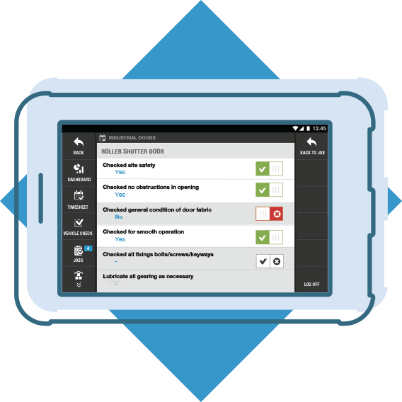 Standard forms plus custom options on a tablet
