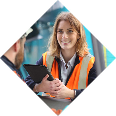 Waste diamond Blue Group employee with tablet