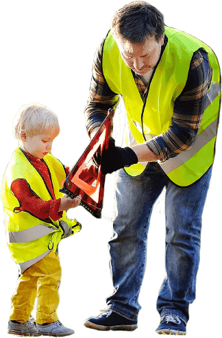 Road safety image with man and child